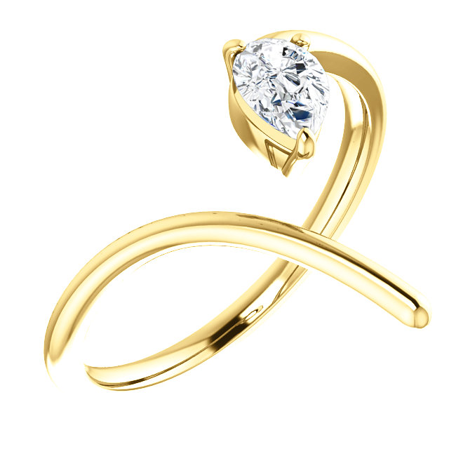Nice 14 Karat Yellow Gold 1/3 Carat Total Weight Pear Genuine Diamond Negative Space Ring