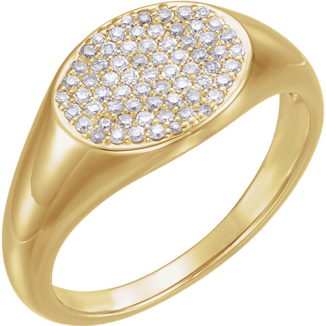 Trendy 14 KT Yellow Gold 1/3 Carat TW Round Genuine Diamond Pave Ring