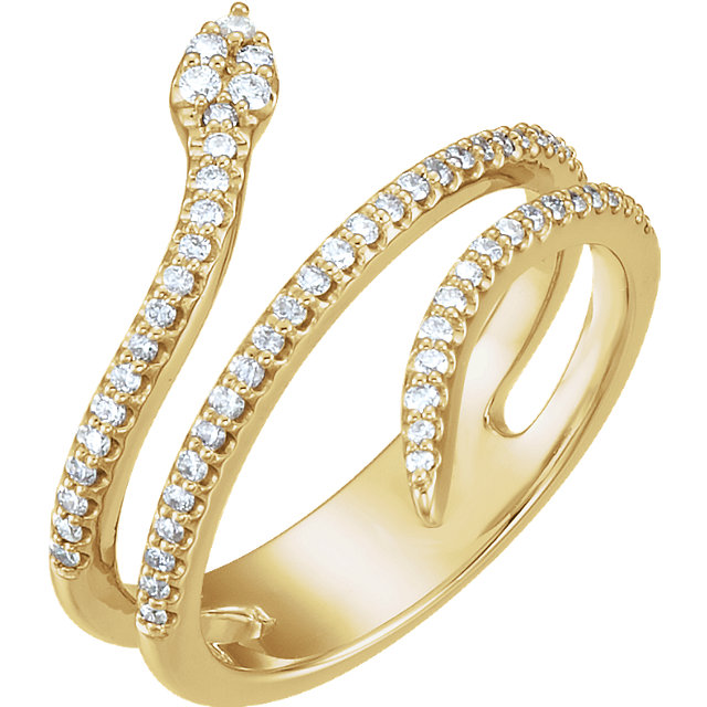 Pleasing 14 Karat Yellow Gold 1/3 Carat Round Genuine Diamond Snake Ring