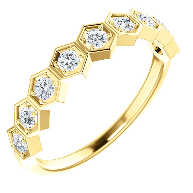 Great Gift in 14 Karat Yellow Gold 0.33 Carat Total Weight Diamond Stackable Ring