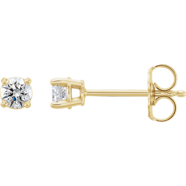 Perfect Jewelry Gift 14 Karat Yellow Gold 0.33 Carat Total Weight Lab-Grown Diamond Stud Earrings