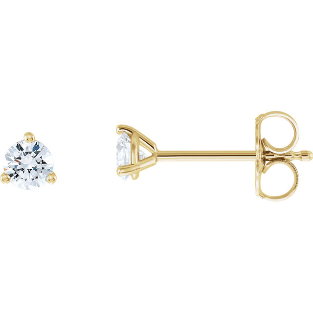 Appealing Jewelry in 14 Karat Yellow Gold 0.33 Carat Total Weight Lab-Grown Diamond Stud Earrings