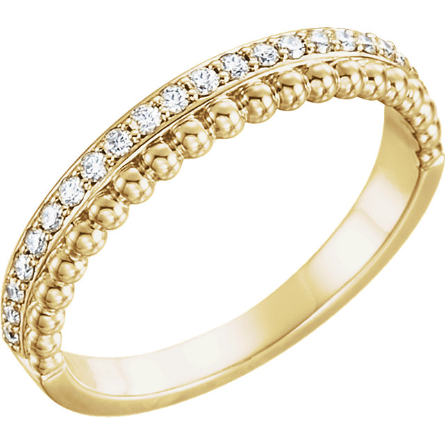 Low Price on 14 KT Yellow Gold 0.25 Carat TW Diamond Beaded Ring
