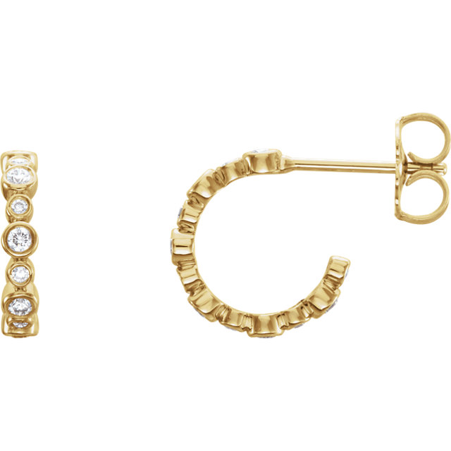 Perfect Gift Idea in 14 Karat Yellow Gold 0.25 Carat Total Weight Diamond Bezel-Set J-Hoop Earrings
