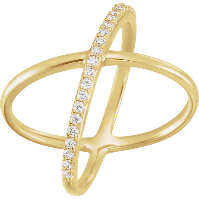 Genuine 14 Karat Yellow Gold 0.25 Carat Diamond Criss-Cross Ring