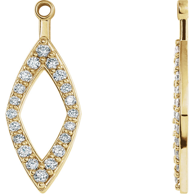 Low Price on Quality 14 KT Yellow Gold 0.25 Carat TW Diamond Earring Jackets