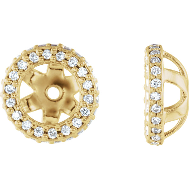 Must See 14 KT Yellow Gold 0.25 Carat TW Diamond Earring Jackets