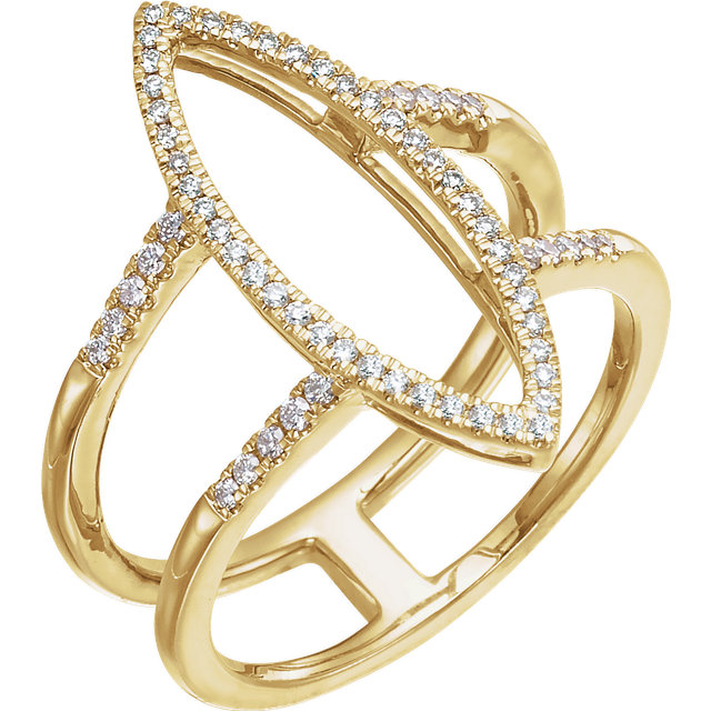 Low Price on Quality 14 KT Yellow Gold 0.25 Carat TW Diamond Geometric Ring