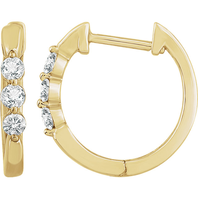 Pleasing 14 Karat Yellow Gold 1/4 Carat Total Weight Diamond Hoop Earrings