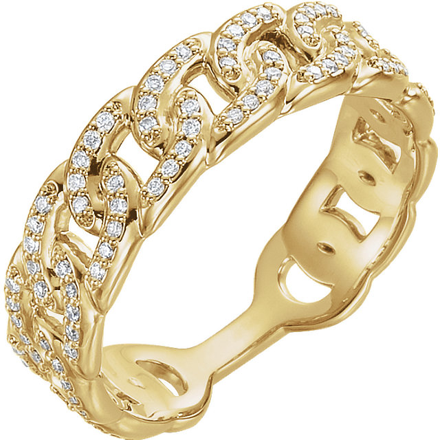 Quality 14 KT Yellow Gold 0.25 Carat TW Diamond Interlocking Stackable Link Ring
