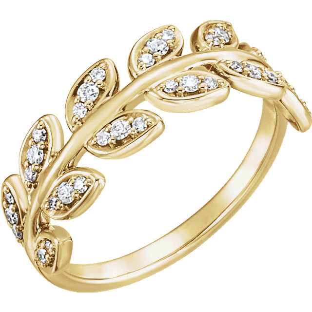 Must See 14 KT Yellow Gold 0.25 Carat TW Diamond Leaf Ring