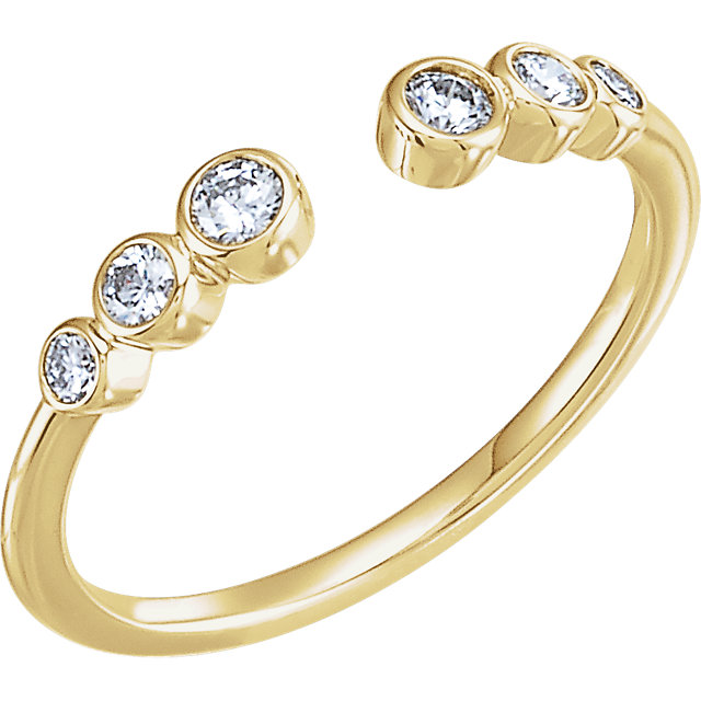 Shop Real 14 KT Yellow Gold 0.25 Carat TW Diamond Negative Space Ring