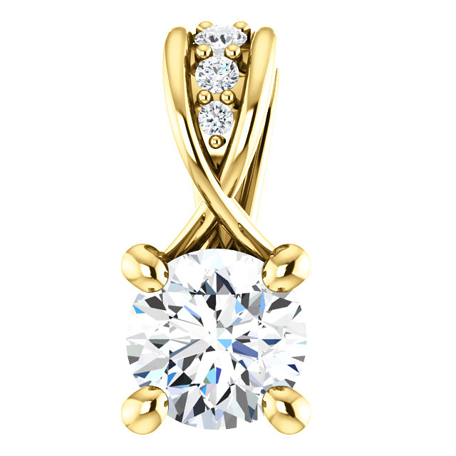14 Karat Yellow Gold 0.25 Carat Diamond Pendant