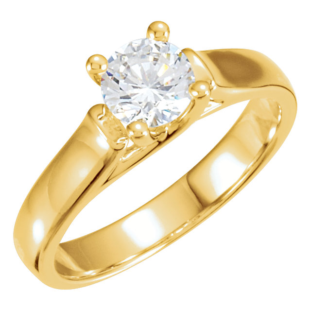 Appealing Jewelry in 14 Karat Yellow Gold 0.25 Carat Total Weight Diamond Round Solitaire Engagement Ring