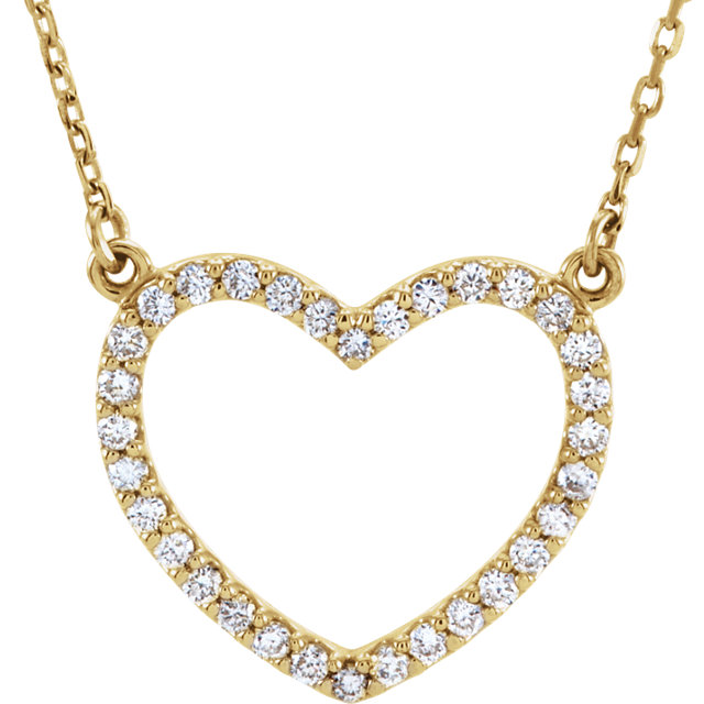 Surprise Her with  14 Karat Yellow Gold 0.25 Carat Total Weight Diamond Small Heart 16