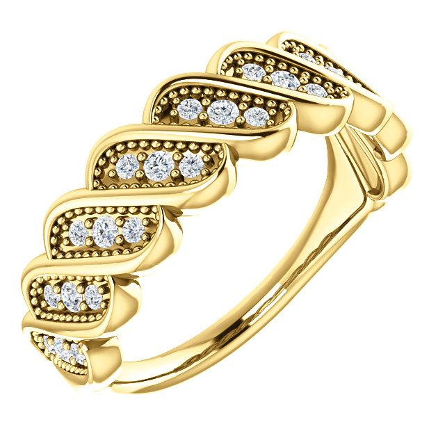 Quality 14 KT Yellow Gold 0.25 Carat TW Diamond Stackable Ring