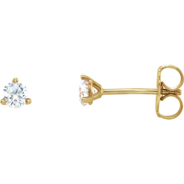 Eye Catchy 14 Karat Yellow Gold 0.25 Carat Diamond Stud Earrings