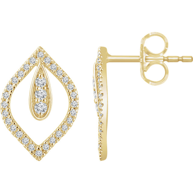 Chic 14 Karat Yellow Gold 0.25 Carat Total Weight Diamond Teardrop Earrings