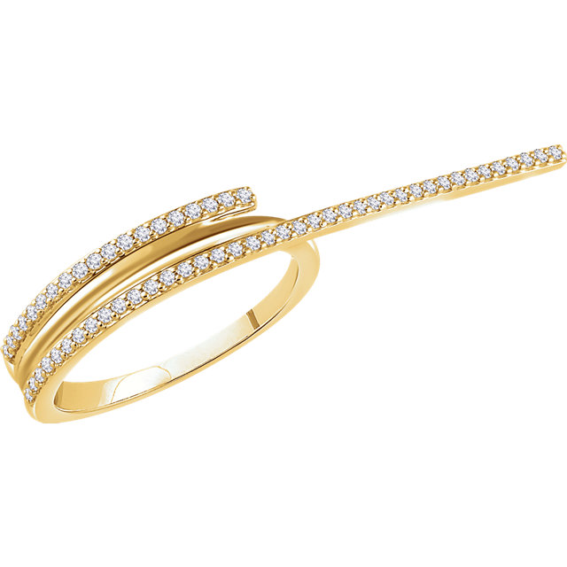 Contemporary 14 Karat Yellow Gold 0.25 Carat Total Weight Diamond Two-Finger Ring
