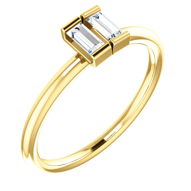 Great Buy in 14 KT Yellow Gold 0.25 Carat TW Diamond Two-Stone Ring