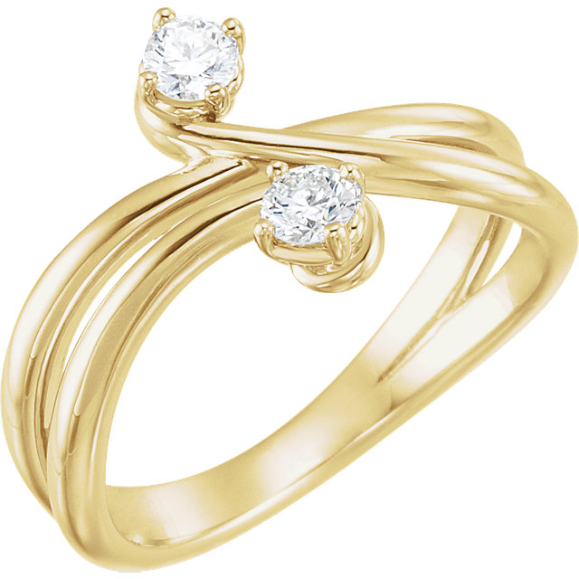 14 KT Yellow Gold 0.25 Carat TW Diamond Two-Stone Ring