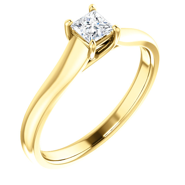 Appealing Jewelry in 14 Karat Yellow Gold 0.25 Carat Total Weight Diamond Woven Solitaire Engagement Ring