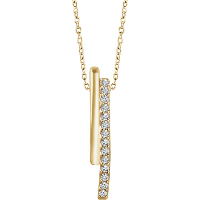Perfect Gift Idea in 14 Karat Yellow Gold 0.20 Carat Total Weight Diamond 16-18