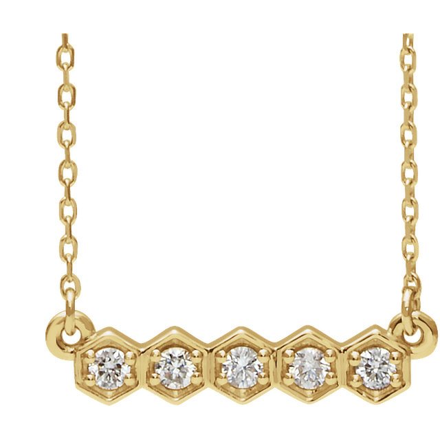 14 Karat Yellow Gold 0.20 Carat Diamond Bar 16-18
