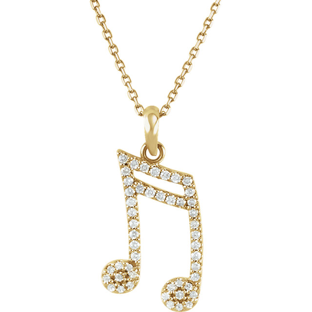 Chic 14 Karat Yellow Gold 0.20 Carat Total Weight Diamond Double Sixteenth Note 16