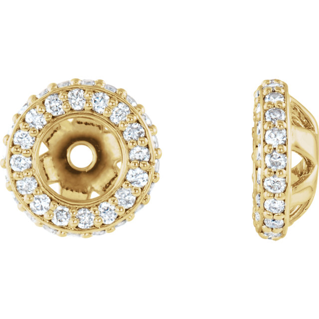 Fine Quality 14 Karat Yellow Gold 0.20 Carat Total Weight Diamond Earring Jackets
