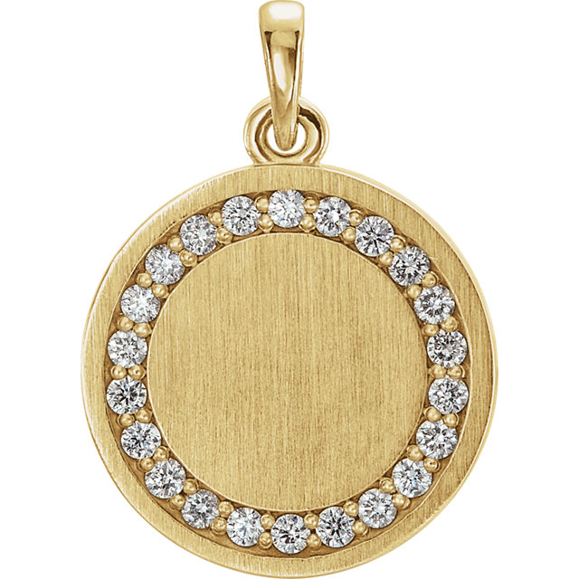 Shop 14 Karat Yellow Gold 0.20 Carat Diamond Engravable Pendant