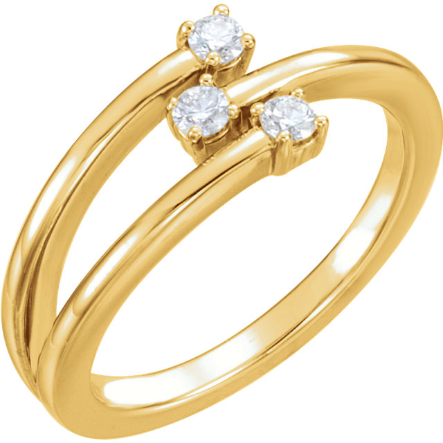 Buy Real 14 KT Yellow Gold 0.20 Carat TW Diamond Freeform Ring