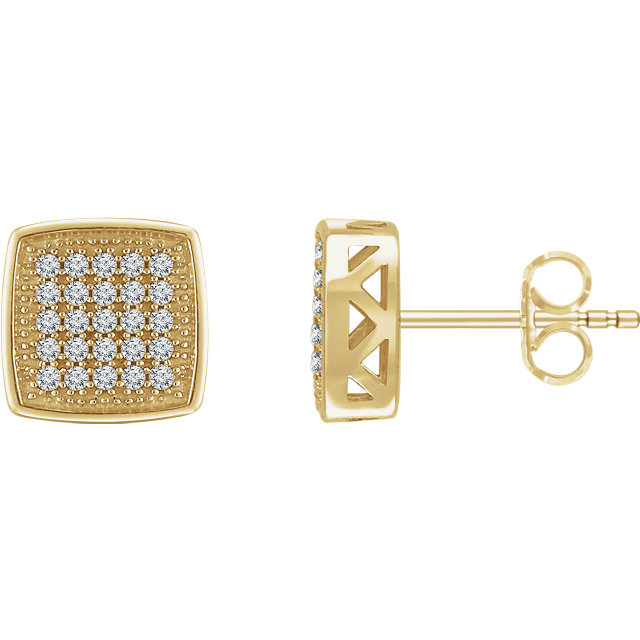 Great Buy in 14 Karat Yellow Gold 0.20 Carat Total Weight Diamond Geometric Earrings