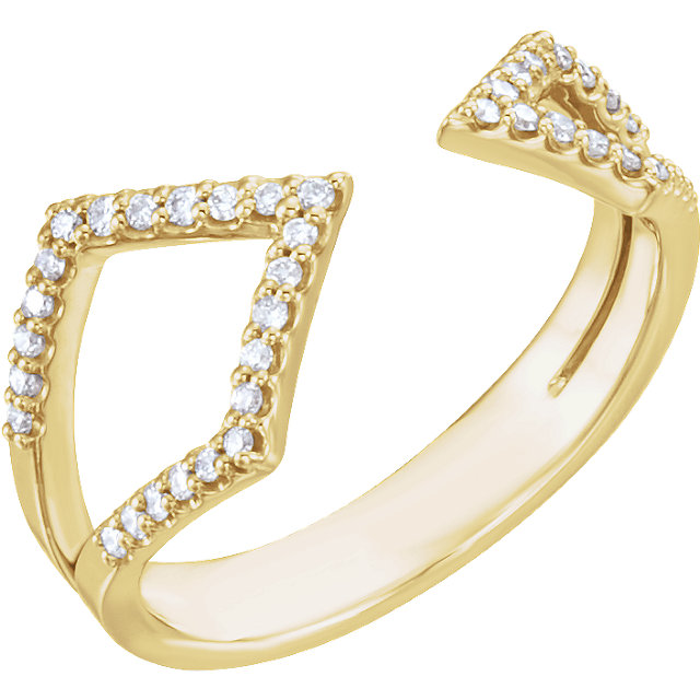 Jewelry in 14 KT Yellow Gold 0.20 Carat TW Diamond Geometric Ring