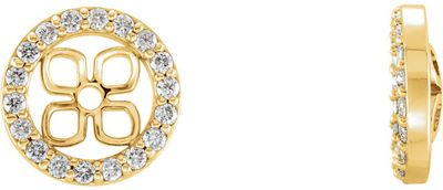 Great Gift in 14 Karat Yellow Gold 0.20 Carat Total Weight Diamond Halo-Style Earring Jackets for Pearl