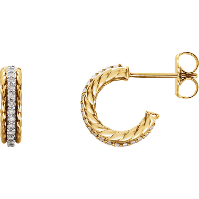 Low Price on Quality 14 KT Yellow Gold 0.20 Carat TW Diamond Hoop Earrings