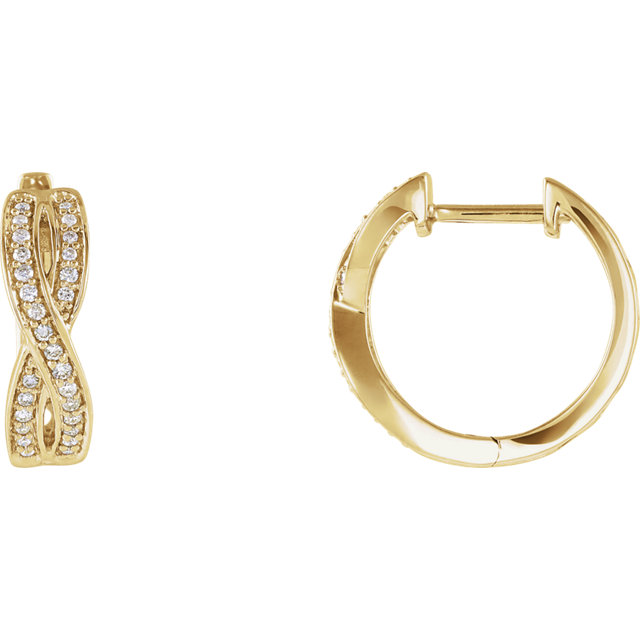Wonderful 14 Karat Yellow Gold 0.20 Carat Total Weight Diamond Infinity-Inspired Hoop Earrings