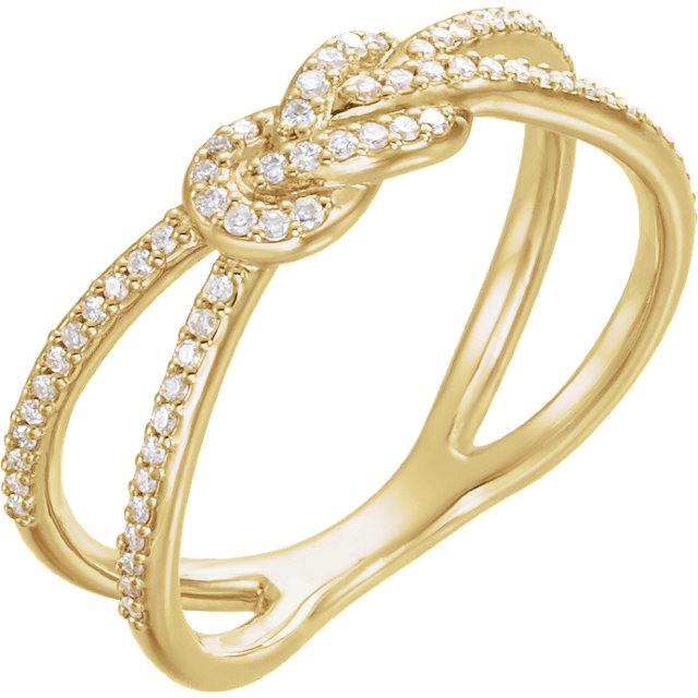14 Karat Yellow Gold 0.20 Carat Diamond Knot Ring