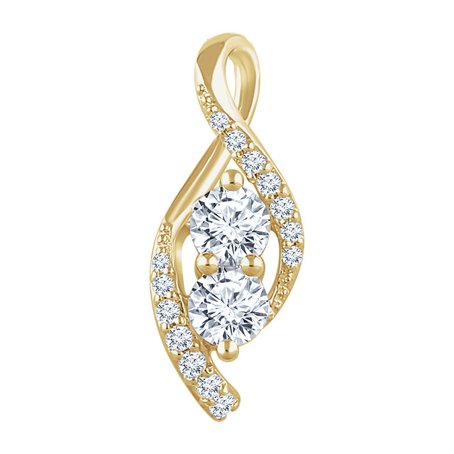14 Karat Yellow Gold 0.20 Carat Diamond Pendant