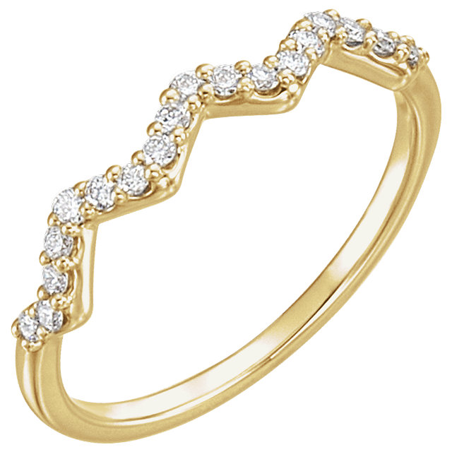 Easy Gift in 14 Karat Yellow Gold 0.20 Carat Total Weight Diamond Stackable Ring