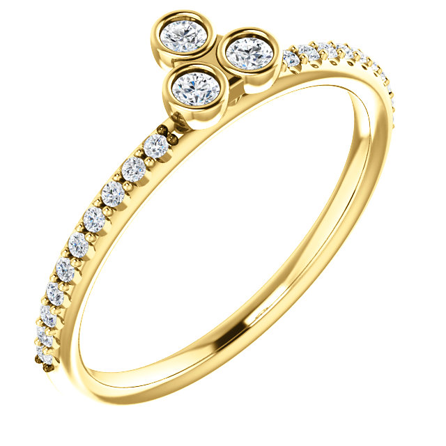 Perfect Jewelry Gift 14 Karat Yellow Gold 0.20 Carat Total Weight Diamond Three-Stone Asymmetrical Stackable Ring