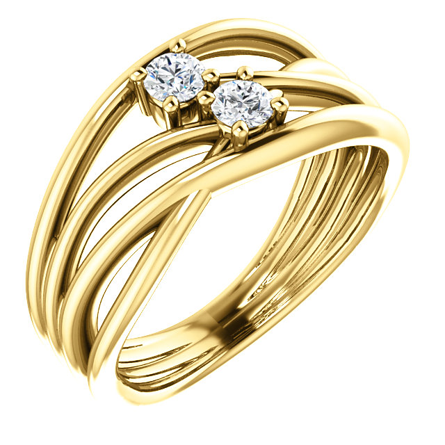 Fine Quality 14 Karat Yellow Gold 0.20 Carat Total Weight Diamond Two-Stone Bypass Ring