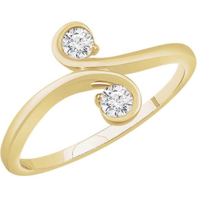 Great Deal in 14 Karat Yellow Gold 0.20 Carat Total Weight Diamond Two-Stone Ring