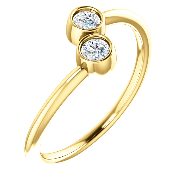 Perfect Gift Idea in 14 Karat Yellow Gold 0.20 Carat Total Weight Diamond Two-Stone Ring