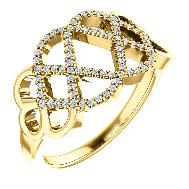 14 KT Yellow Gold 0.20 Carat TW Diamond Woven Ring