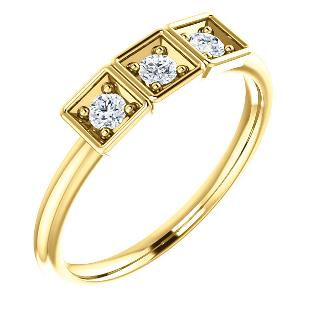 Great Buy in 14 Karat Yellow Gold 0.20 Carat Total Weight Stackable Ring