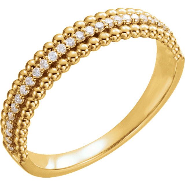 14 KT Yellow Gold 0.17 Carat TW Diamond Beaded Ring