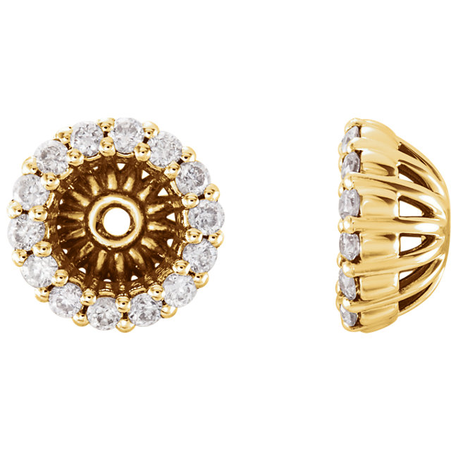 Fine Quality 14 Karat Yellow Gold 0.17 Carat Total Weight Diamond Cluster Earring Jackets