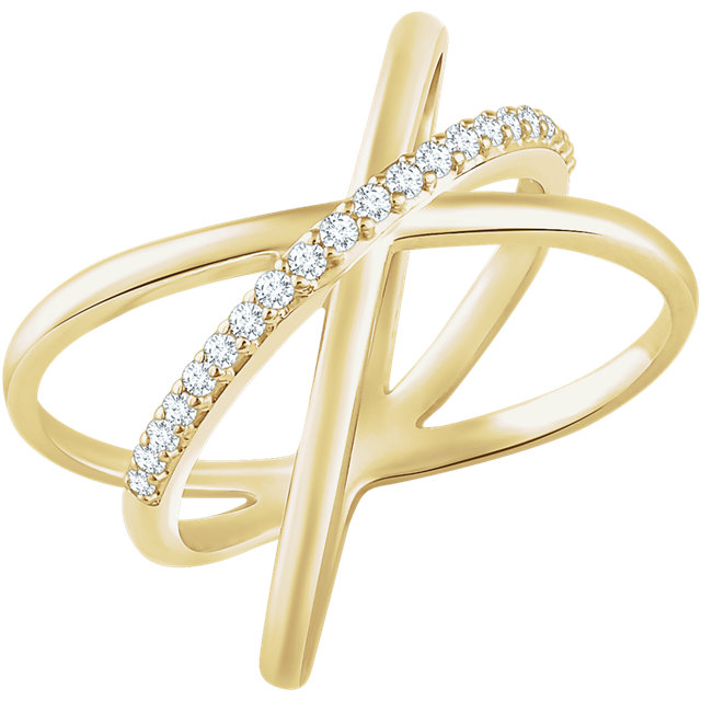 Great Buy in 14 Karat Yellow Gold 0.17 Carat Total Weight Diamond Criss-Cross Ring