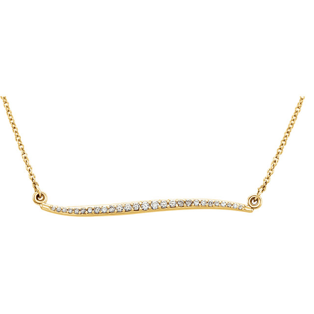 14 Karat Yellow Gold 0.17 Carat Diamond Curvilinear Bar 17.5